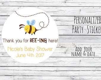 Personalized Baby Bee Shower Stickers,  Baby Shower, What Will You Bee, Bee Favors, Summer Shower, Garden, Party