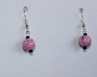 Pink and Black Splatter Bead Dangle Earrings
