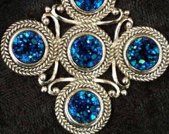 CLEARANCE *Titanium Druzy Pendant Necklace