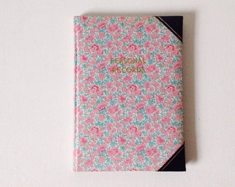 Vintage Liberty of London personal records book, rare and unused journal, vintage address book and year planner with Liberty print fabric