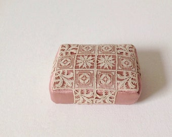 Vintage pin cushion in a beautiful pink satin with crochet, 1920's or 1930's pin cushion