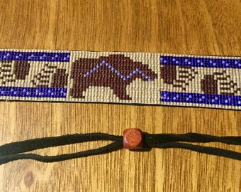 Bear Totem, Native American Inspired, purple and brown Loom Beaded, Handwoven, Bracelet