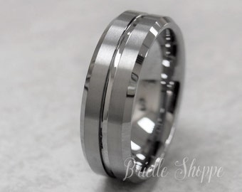 Men's Tungsten Ring, Tungsten Ring, Men's Tungsten Band, Tungsten Wedding Ring, Men's Ring, Tungsten, Silver Men's Ring, Personalized Ring