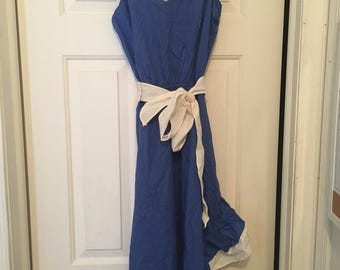 Vintage blue and white ruffle dress