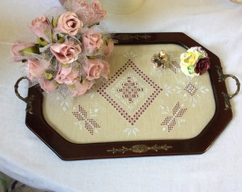 Wooden Tray with Brass Detail and Lekara Cyprus Lace insert
