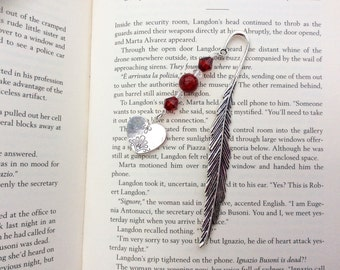 Bookmark, Silver Tone Bookmark, Heart Charm, Valentines Gift, Mothers Day,  Craft Charms, Beaded Bookmark, Book Lover Gift.