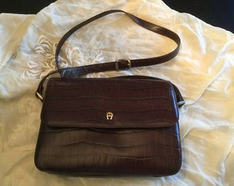 ETIENNE AIGNER BAG Faux Croc Leather Shoulder Bag Rich Chocolate Brown Gold Tone Buckles Logo A Stamped Buckles