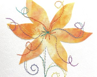 Embroidered Greeting Card - Fabric Flower Greeting Card - Handmade Appliqued and Stitched Greeting Card - Fibreart Flower Card