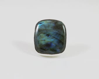 Square Labradorite Sterling Adjustable Ring