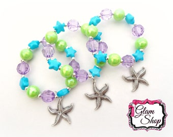 Ariel Party Favors!! Ready Made Bracelets.  ~Set of 3~ Under the Sea Birthday, Mermaid, Princess Bracelet