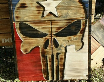 Punisher Skull with Texas Flag - Carved