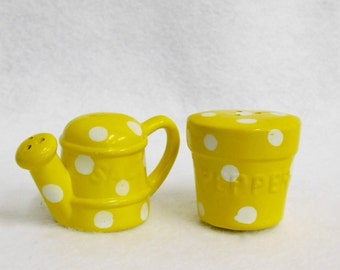 Vintage Watering Can and Flower Pot Salt and Pepper Shaker Set