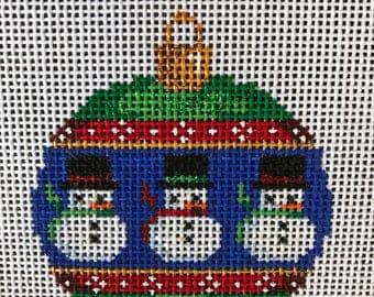"Handpainted Needlepoint Associated Talents #CT1461 ""Snowmen Mini Ball Ornament"""