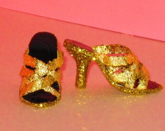Gene Marshall shoes GOLD WEB SHOES for Gene Marshall by Aston Drake, Tyler Wentworth, Emme, 16 inch fashion dolls, high heel doll shoes