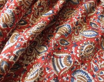 Red And Blue Floral Kalamkari Modal Fabric