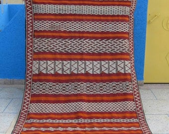Antique  Handwoven Moroccan Zemmour Kilim (HANBEL) rug, Bright Red with White and Burnt Orange geometric design