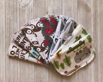 Camping and Woodland Themed Flannel Cloth Wipes