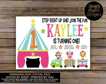 Circus Birthday Invitation - Carnival Birthday Invitation