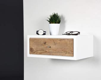 Side table / console / bedside / Floating small white side table with drawer / Floating bedside table / Nightstand suspended with drawer