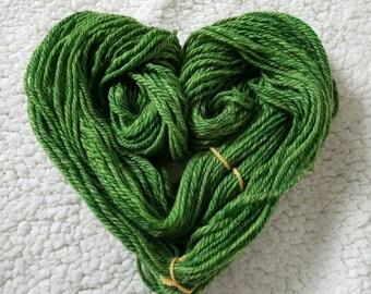 Green Handspun Wool, Handspun Yarn, 100% Merino, Aran Wool