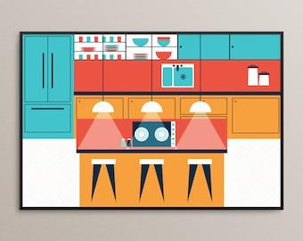 SALE 30% OFF! Large Mid Century Modern Kitchen Illustration
