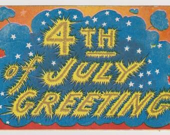 Fourth of July Postcard, Antique Postcard, Patriotic Postcard, Fireworks, Ephemera