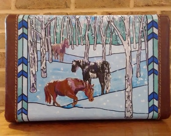 Winter Horses Hand Painted Vintage Suitcase