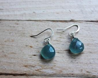 chalcedony earrings, gemstone earrings, blue chalcedony, aqua chalcedony, wire wrapped, chalcedony jewelry, silver earrings,gift for her