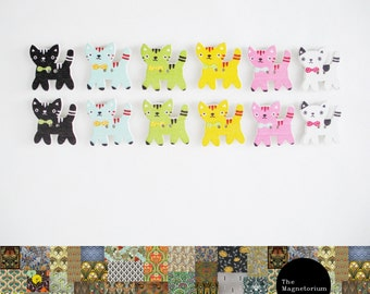 Coloured Cats Fridge Magnet Set