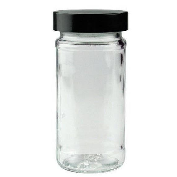 8 oz glass jars black lids pack of 6 paragon clear jars for Clear bathroom containers