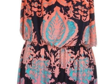 Plus Size-Baroque Print Maxi Dress