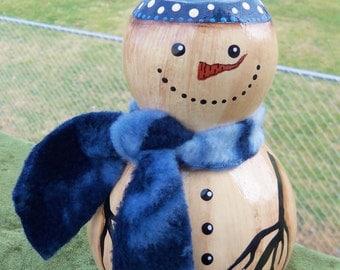 """Snowman Gourd, 5 1/2"""" Tall, Handpainted"""