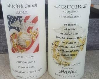 United States Marine Corps Candle Graduation & Crucible Candle Have it Personalized EGA USMC Crucible Facts on Back Lantern