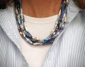 Boho Jewelry. Blue paper bead necklace. Gifts for her. Haitian jewelry. Recycled paper beads. Paper bead jewelry. Gifts for mom. Blue beads