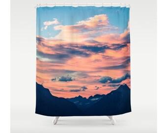 mountain shower curtain cloud shower curtain unique shower curtain rustic bath decor