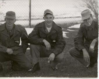 "WWII Soldier in Uniform on base X2 B/W Photo 1940""s"