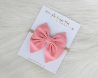 Salmon Sailor Bow // 3 sizes // headband or clip