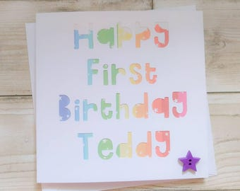 Super cute personalised paper cut birthday card with wooden star button - any name and age - custom backing colours