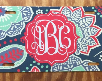 Floral monogram license plate flowers car tag personalized monogrammed