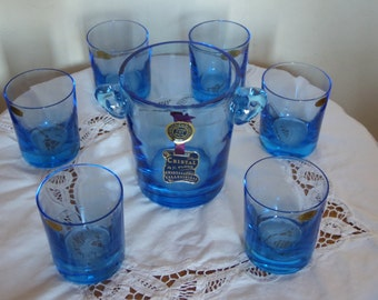 Service 6 glasses and ice bucket, drink whiskey, Crystal handmade turquoise, Crystal Vallerysthal, original box, bar