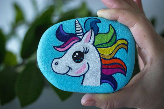 Unicorn Painted Stone Painted Rock Free Shipping Worldwide