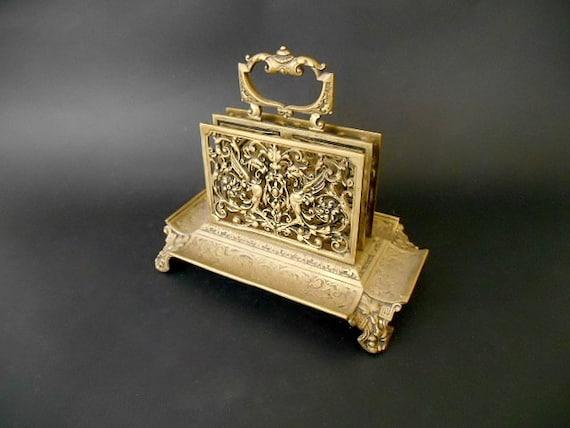 Antique bronze letter holder old letter and pen rack for Vintage letter holder desk