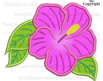 Flower applique design, floral machine embroidery design,  fls-046