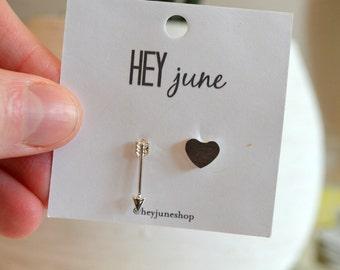 valentines day stud earrings, cupid earrings, heart and arrow earrings, gold heart earrings, minimalist earrings, valentines day studs
