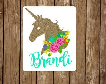 Unicorn monogram decal // floral unicorn decal // unicorn decal // Unicorn Yeti decal // personalized Unicorn // unicorn monogram //