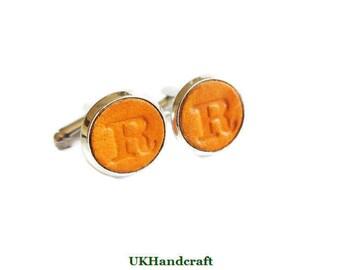 Groomsmen Leather Cufflinks, Groomsmen Gift, Personalized Cufflinks, Personalized Groomsmen Gift, Wedding Gift, Silver Cufflinks Leather