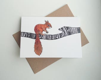 Red Squirrel || A6 Greetings Card