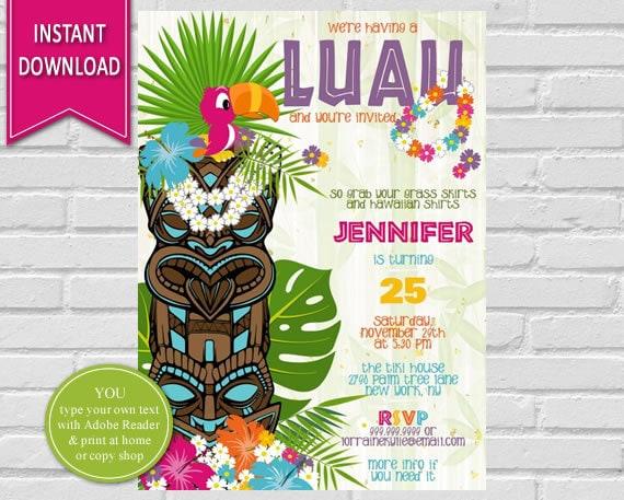 luau birthday invitation luau party hawaiian party