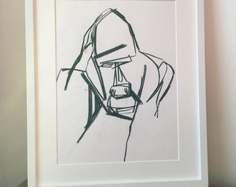 Original abstract drawing of a Gorilla Face