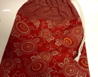 Lingerie, red ochre Japanese voyage.tissus bag bag